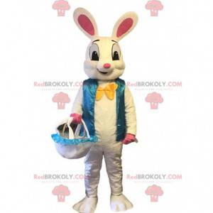 Velký maskot králíka s modrou vestou, kostým králíka -