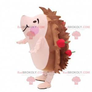 Braunes und rosa Igelmaskottchen mit Äpfeln - Redbrokoly.com