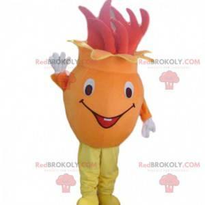 Maskot oranžový a červený květ, kostým ovoce a zeleniny -