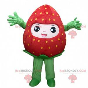 Red strawberry mascot with yellow dots, strawberry costume -