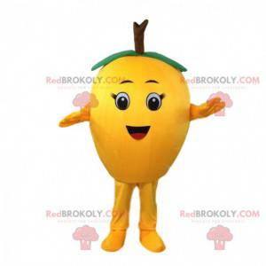 Obří citron maskot, hruškový kostým, žluté ovoce -