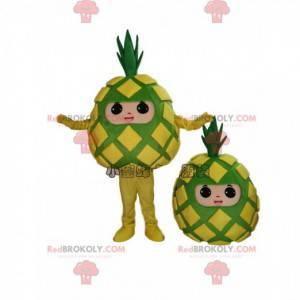 Żółto-zielona maskotka ananas, kostium ananasa, egzotyczny owoc