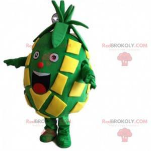 Maskot velký zelený a žlutý ananas velmi usměvavý -