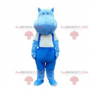 Blå flodhest maskot overall, flodhest kostyme - Redbrokoly.com