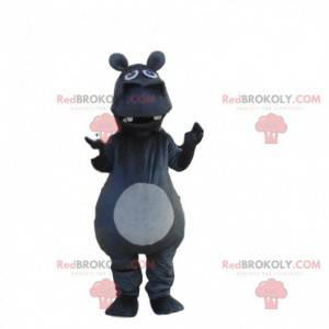 Gigantyczny ciemnoszary hipopotam maskotka, kostium nosorożca -