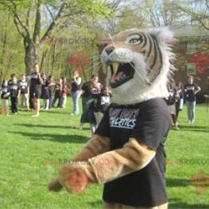 Very realistic white and black brown tiger mascot -