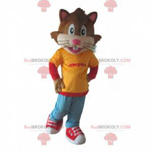 Cat mascot dressed in youth outfit, feline costume -