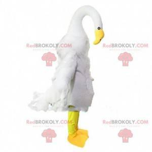 Riesenmaskottchen mit weißem Schwan, großes Vogelkostüm -