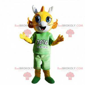 Yellow dragon mascot dressed in green, young dragon costume -