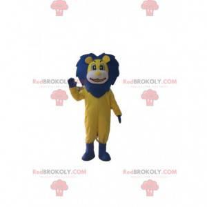 Gelbes und blaues Löwenmaskottchen, großes Löwenkostüm -