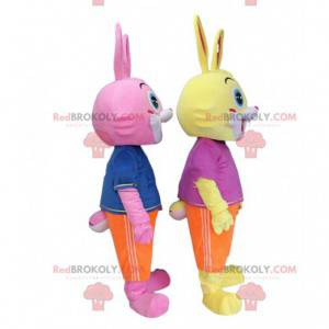 2 bunte Kaninchenmaskottchen, Plüschkostüme für Nagetiere -