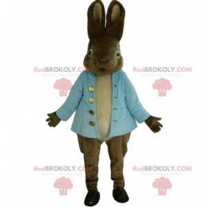 Sehr realistisches braunes Kaninchenmaskottchen mit blauer