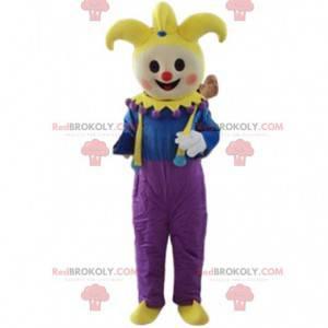 Mascote palhaço, bobo do rei, fantasia de acrobata -