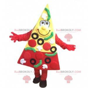 Mascote gigante de fatia de pizza, fantasia de pizzaria -