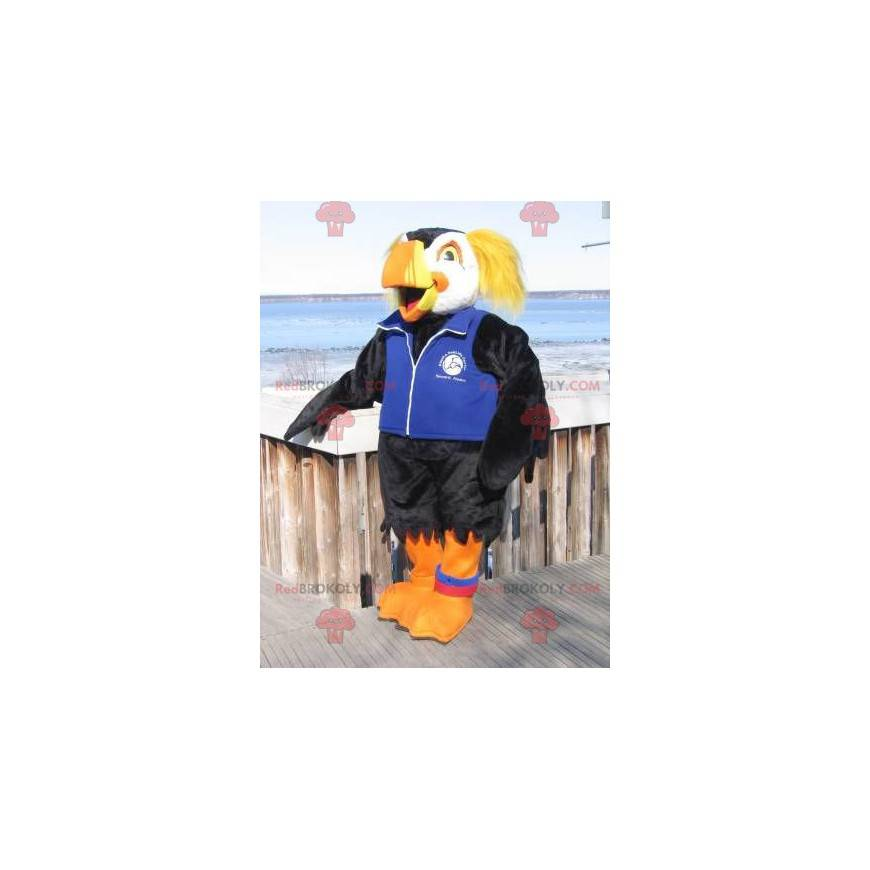 Maskot černý bílý a žlutý papoušek - Redbrokoly.com