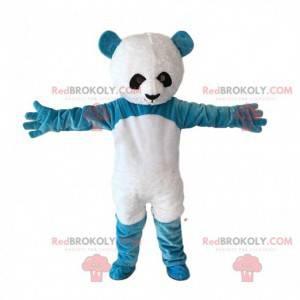 Blaues und weißes Teddybärmaskottchen, riesiger blauer Panda -