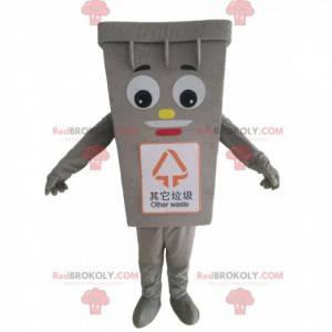 Gigantyczna szara maskotka śmieci, kostium na śmieci -