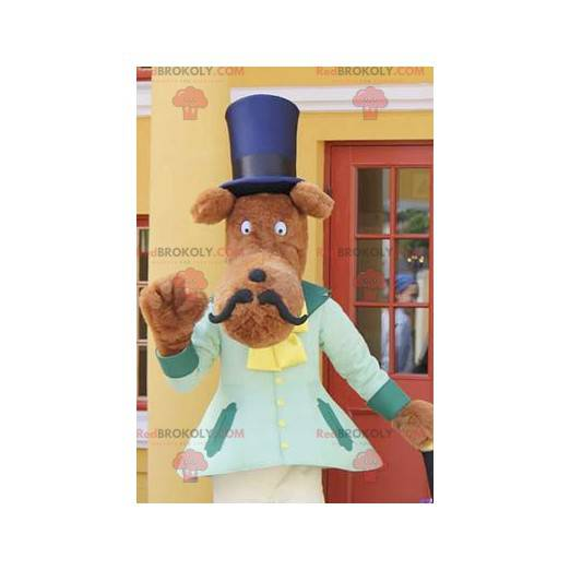 Mustached dog mascot with a top hat - Redbrokoly.com
