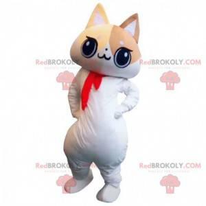 Maskot bílé, béžové a hnědé kočky, kostým velké kočky -