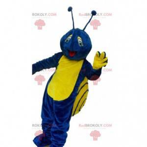 Blaues und gelbes Schneckenmaskottchen, buntes Insektenkostüm -