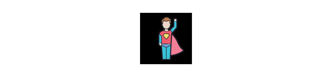 Mascote super-herói - Fantasias de mascote em Redbrokoly.com