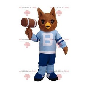 Mascot of the day: Brown owl mascot in blue outfit. Discover @redbrokoly #mascots - Link : https://bit.ly/2Znokkz - REDBROKO_0419 #mascots #mascot #event #costume #redbrokoly #marketing #customized #blue #brown #owl #costume #outfit #custom https://www.redbrokoly.com/en/bird-mascot/419-brown-owl-mascot-in-blue-outfit.html