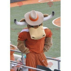 Mascot of the day: Brown cow bull mascot with horns. Discover @redbrokoly #mascots - Link : https://bit.ly/2Znokkz - REDBROKO_0427 #mascots #mascot #event #costume #redbrokoly #marketing #customized #with #brown #costume #cow #bull #horns #custom https://www.redbrokoly.com/en/cow-mascots/427-brown-cow-bull-mascot-with-horns.html