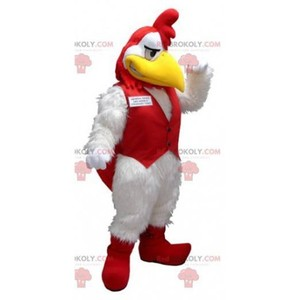 Mascot of the day: White and red rooster mascot. Discover @redbrokoly #mascots - Link : https://bit.ly/2Znokkz - REDBROKO_0403 #white #mascots #mascot #event #costume #redbrokoly #marketing #customized #and #red #costume #rooster #custom https://www.redbrokoly.com/en/farm-animals/403-white-and-red-rooster-mascot.html